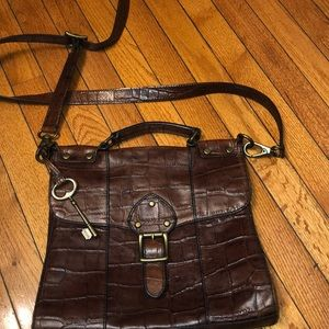 Fossil croc leather crossbody